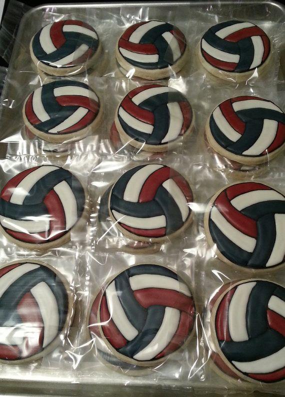 1 Dozen Volleyball Sugar Cookies Volleyball Cookies Volleyball Cupcakes Sugar Cookies