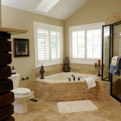 Corner whirlpool tub design ideas pictures remodel and for How to decorate a garden tub bathroom