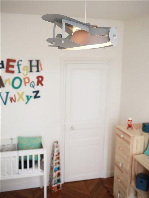 Lampe Suspension Enfant Avion Gris Creation Francaise R M Coudert