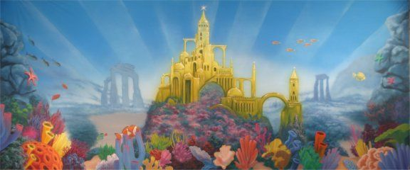Underwater Mermaid Castle Little Mermaid Backdro...