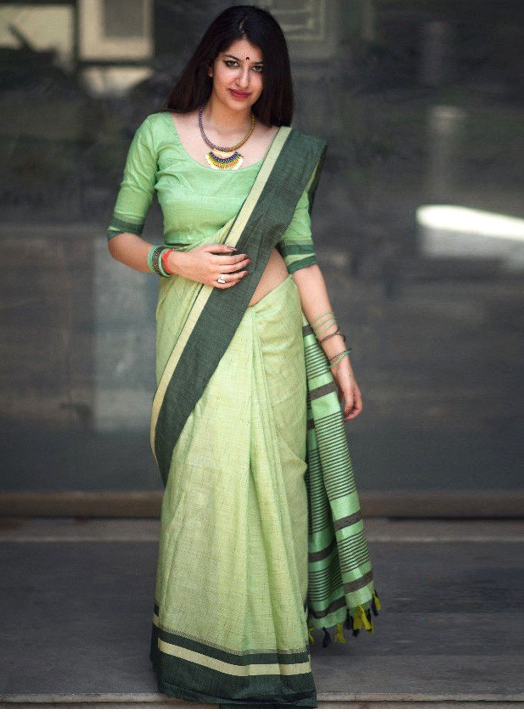 56c4434727 Buy Online Pista Green Color Designer Slub Cotton Silk Saree | Best ...