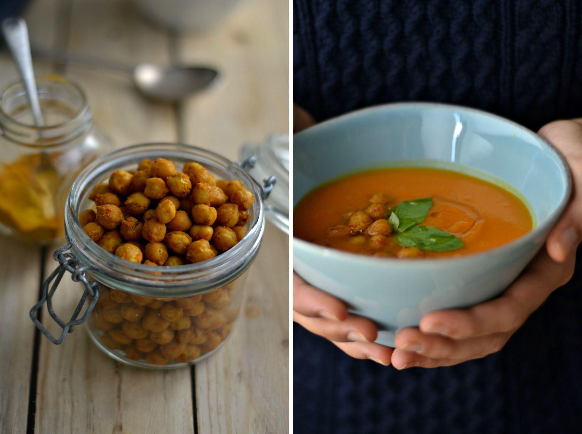 Sopa de batata-doce com grão-de-bico crocante