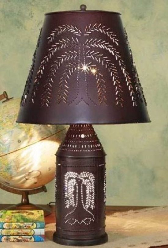 Red Black Willow Tree Lamp Paul Revere Lantern French Country