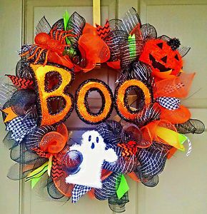 Halloween-Deco-Mesh-BOO-Wreath-Ghost-Spider-amp-Jack-O-Lantern-Pumpkin-Door-Decor