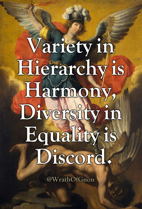 Variety in Hierarchy is Harmony, Diversity in Equality is Discord