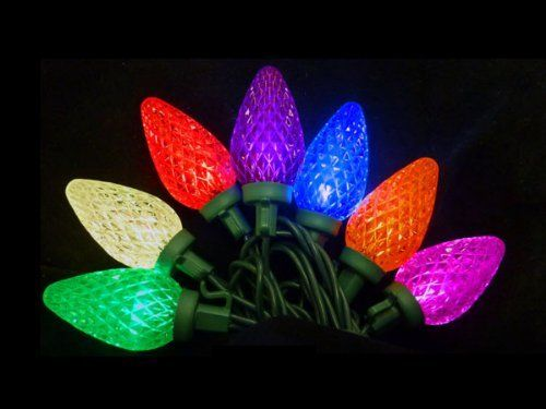 Set of 25 MultiColor LED Retro Style C7 Christmas Lights