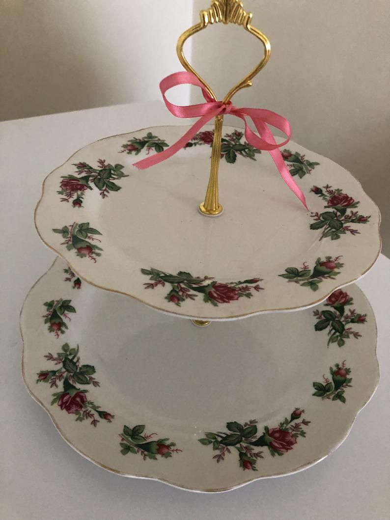 WEDDING CAKE STAND Moss Rose 2 Tier Serving Tray Floral