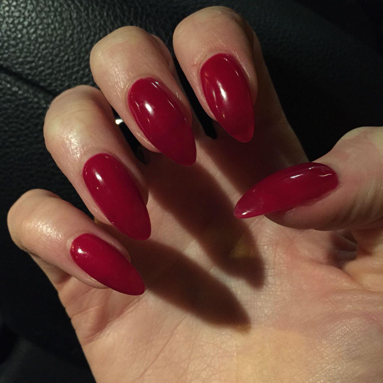 CND Shellac Decadence Stiletto Nails Vamp