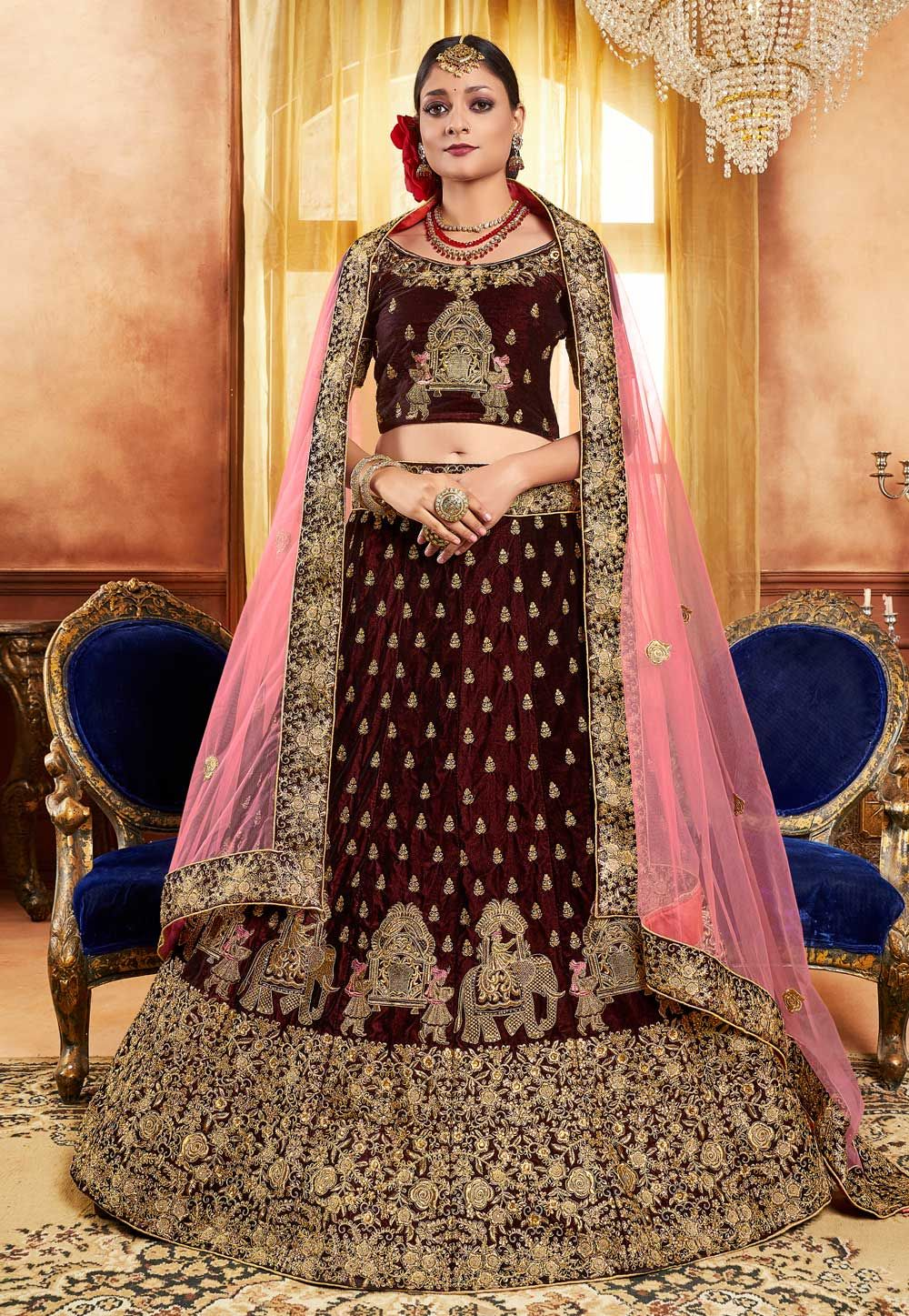 2fbe7bf053 Buy Brown Velvet Embroidered Lehenga Choli 160089 online at best price from  vast collection of Lehenga Choli and Chaniya Choli at Indianclothstore.com.