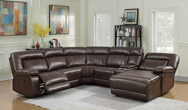 Mgs 8002 Br 5 Pc Collette Brown Faux Leather Sectional Sofa With Recliners And Cup Holders Faux Leather Sectional Reclining Sectional Leather Sectional Sofa