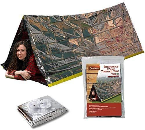 Grizzly Gear Emergency Thermal Tent Weatherproof Mylar Disaster Survival 2-Person Bivouac 8 ft x 3 ft Compact Lightweight Hiking Camping Backpacking Shelter Premium Prepper