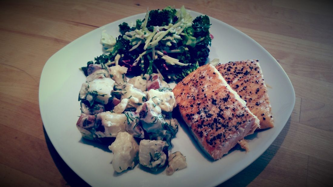 Easy and healthy dinner,  baked salmon and dill potatoes, completely gluten and milk free!