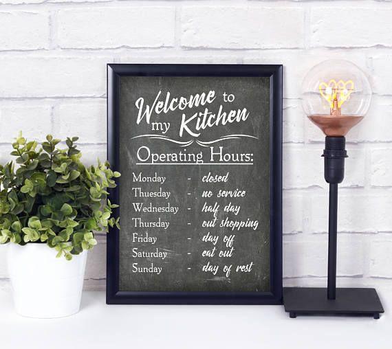 kitchen rules digital print chalkboard sign funny welcome sign kitchen art print kitchen. Black Bedroom Furniture Sets. Home Design Ideas