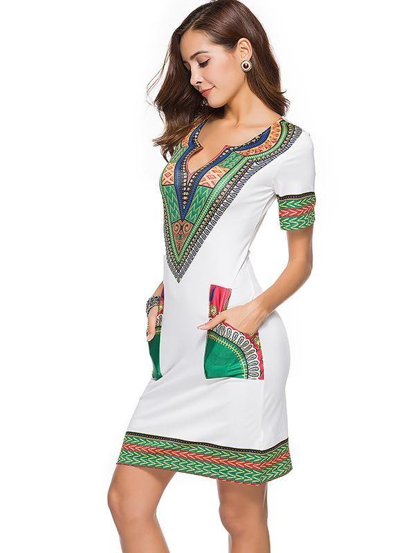 Printed Bodycon V-neck Mini Dress