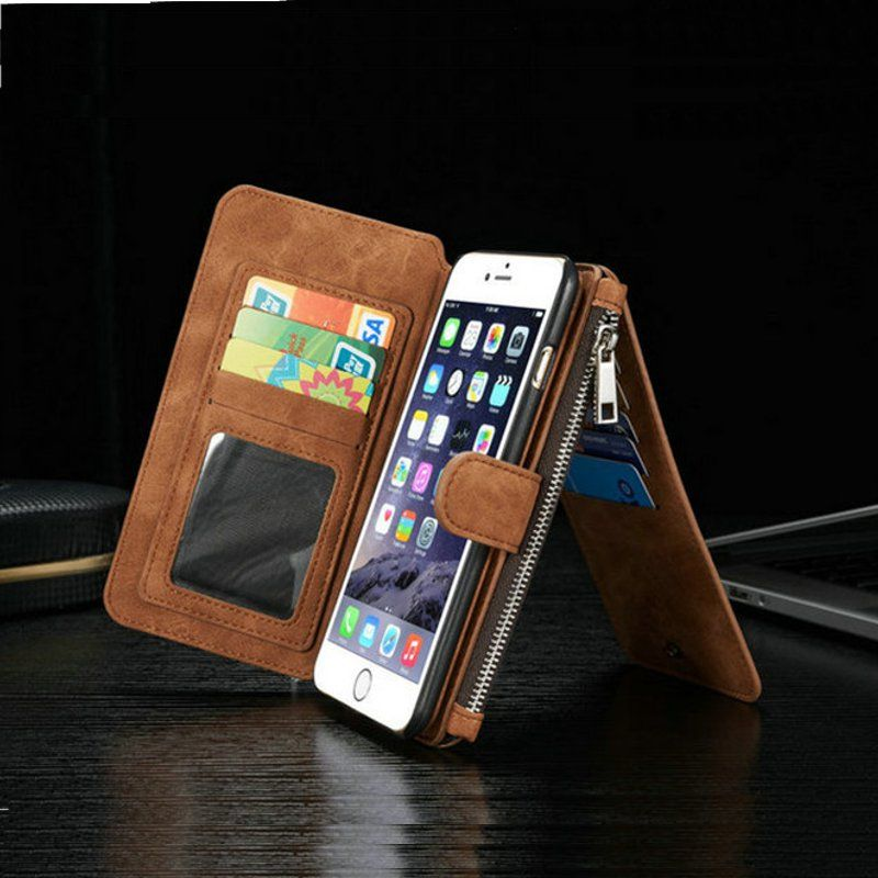 Vintage Leather Multi Function Wallet Card Pocket Zipper Flip Case Cover For Apple iPhone 6 6s 4.7
