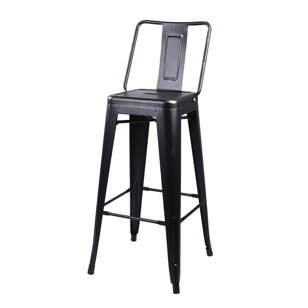 24 industrial style high back metal stool black counter