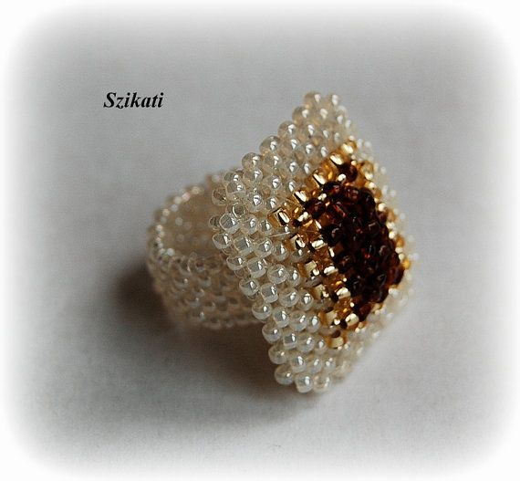 Beadwoven beige, gold & brown seed bead ring, OOAK #cocktails
