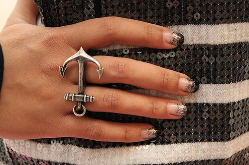 Pretty anchor ring Diamond are a girls best friend