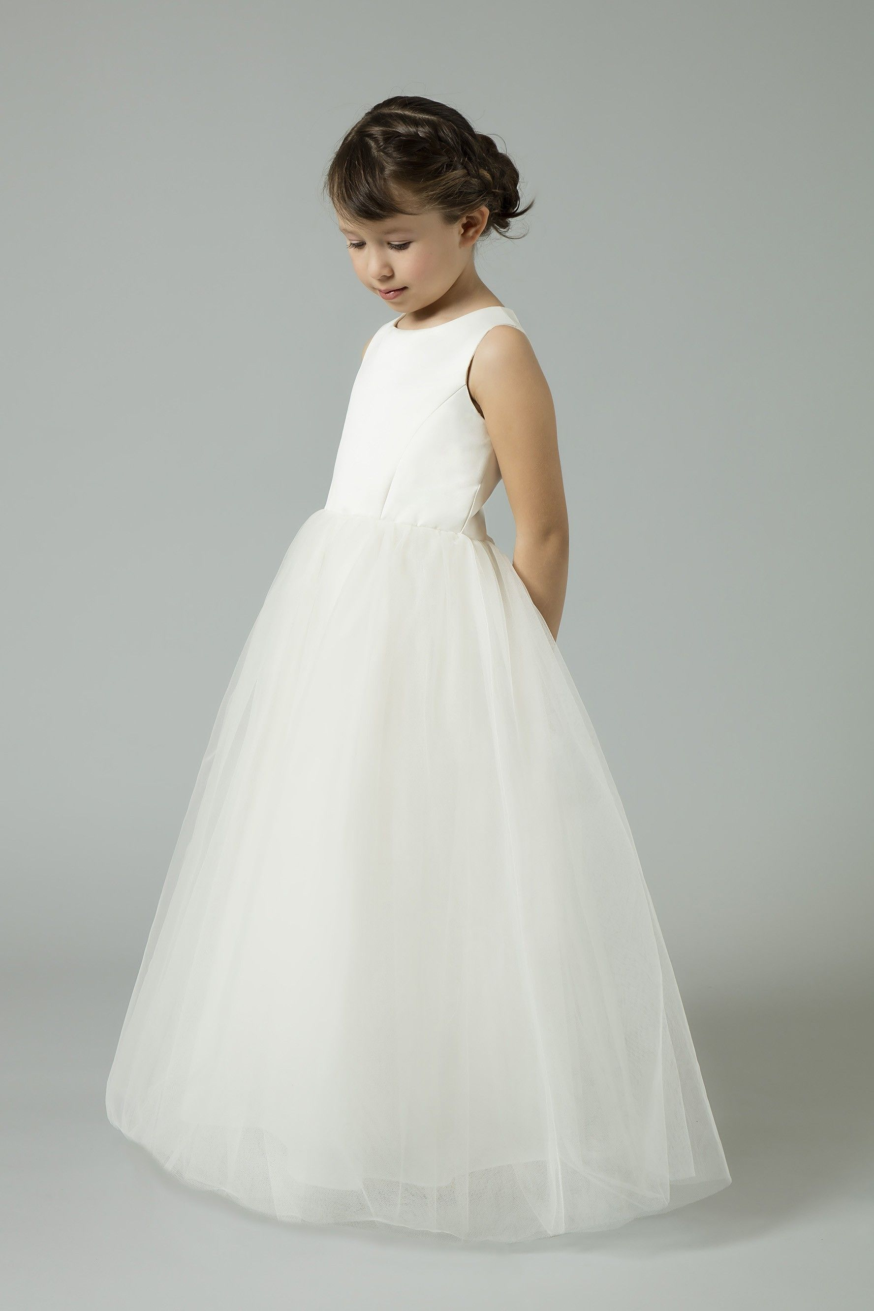 28b35f1e489 Satin Flower Girl Dress with Tulle Skirt    Colour  Ivory    Style No.   S1038