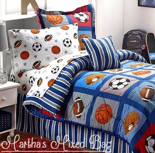 ALL SPORTS Boys Bedding Football Basketball Soccer Balls Baseball Comforter Set 87563