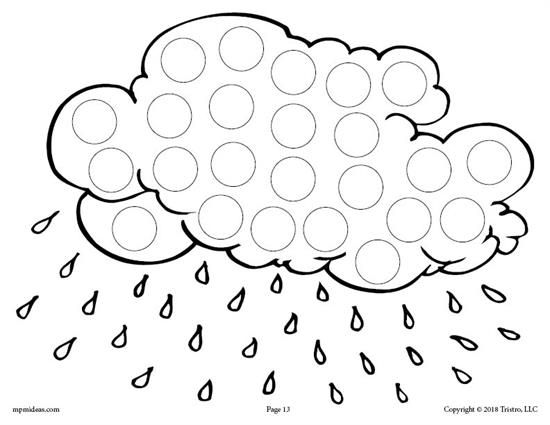 12 FREE Spring Do-A-Dot Printables! Motor skills, Rain and Cloud - new preschool coloring pages rain