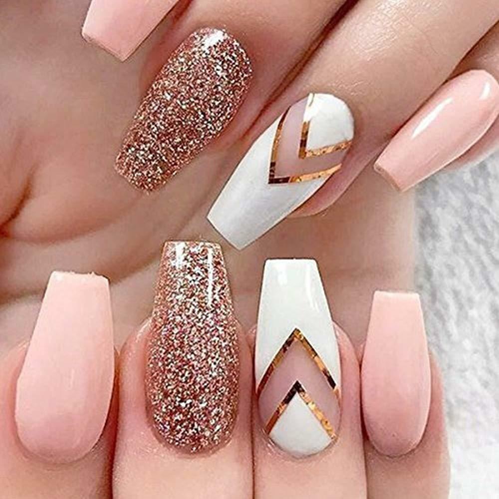 600pcs Nail Tips Coffin Nails Long Ballerina Full Cover Acrylic False 10 Sizes Ebay Https Eb Pink Acrylic Nails Light Pink Acrylic Nails Gold Glitter Nails