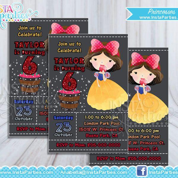 Princesses Invitations watercolor Princess Invitation Belle Aurora