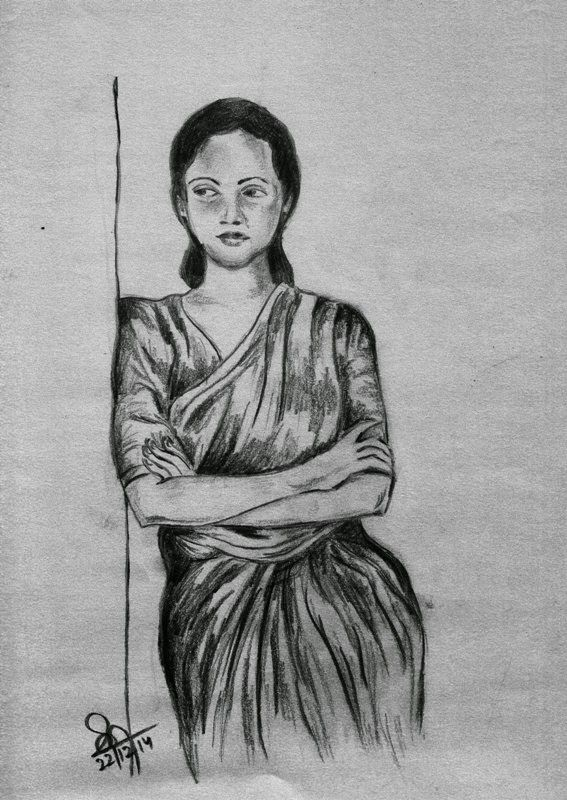 Beautiful pencil sketches beautiful charcoal pencil sketch of an indian woma