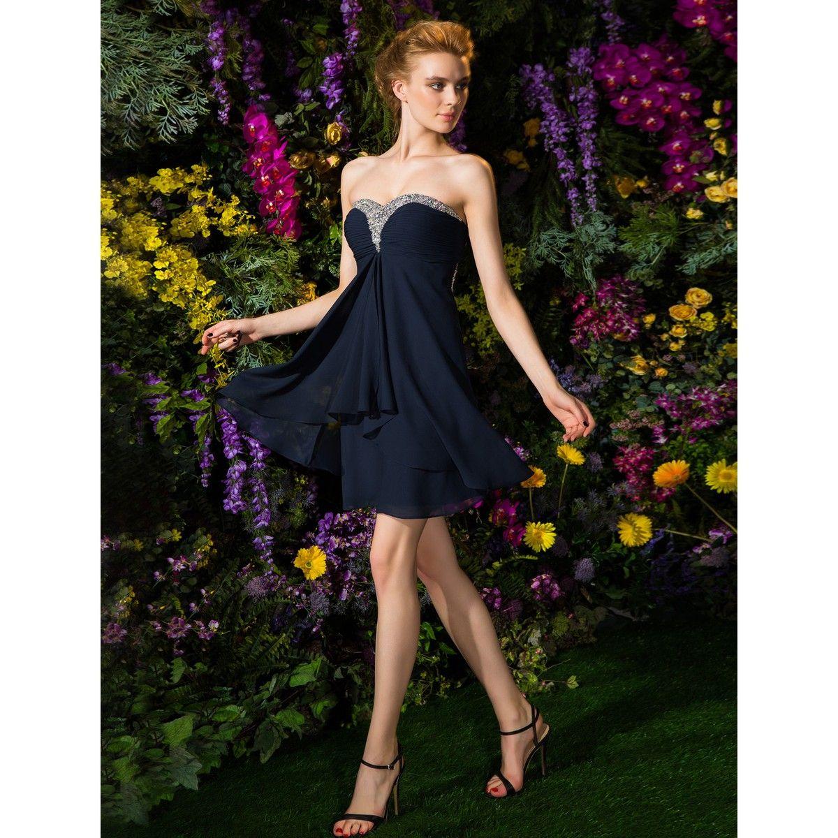 Sheath/Column Sweetheart Short/Mini Chiffon Bridesmaid Dress