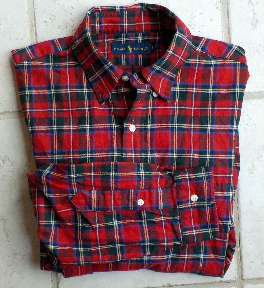 f25b46fbc RECENT Polo Ralph Lauren Tartan Plaid Brushed Cotton Shirt Large Red ...