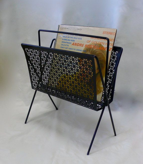 Vintage Mid Century Atomic Magazine Rack Metal Mesh Wire Magazine Rack Record Lp Holder Newspaper Rack Mid Century Metal Mesh Magazine Rack