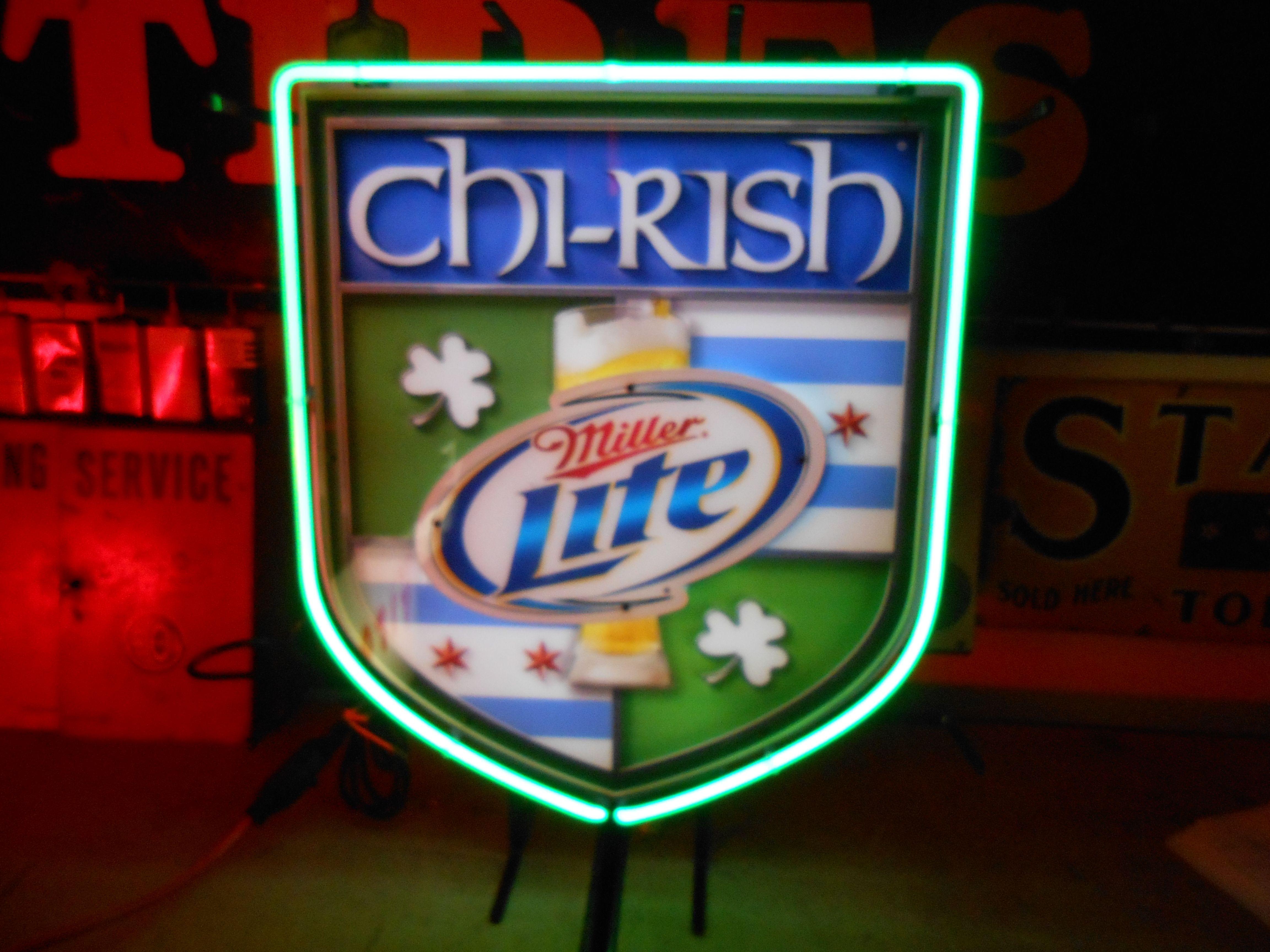 Rare Chi-rish Miller Lite Neon Bar Sign Circa 2007
