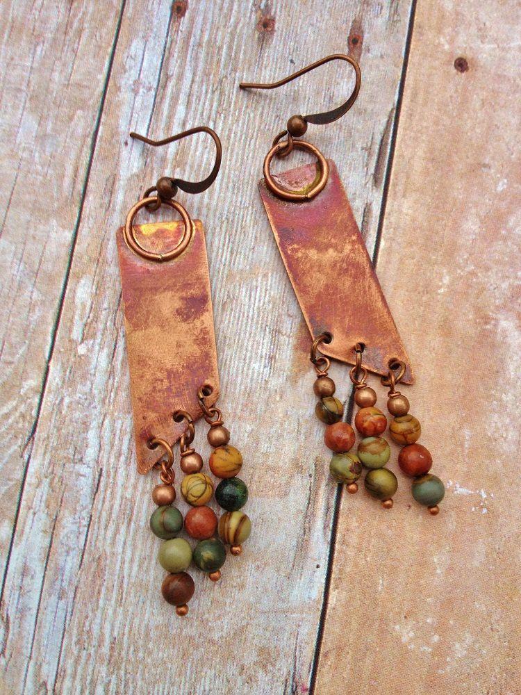 Geometric Oxidized Copper and River Rock Jasper Dangle Earrings. $36,00, via Etsy.