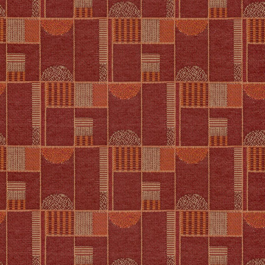 Fenner Red Red And Red Geometric Woven Upholstery Fabric
