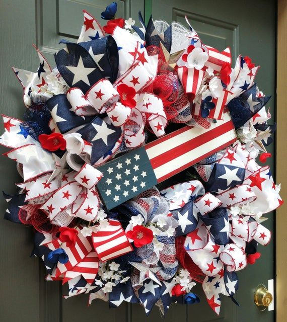 Patriotic Wreath, Veterans Day Wreath, 4th of July Decor, Fourth of July Wreath, Summer Wreath, Fourth of July Decor, Memorial Day Wreath