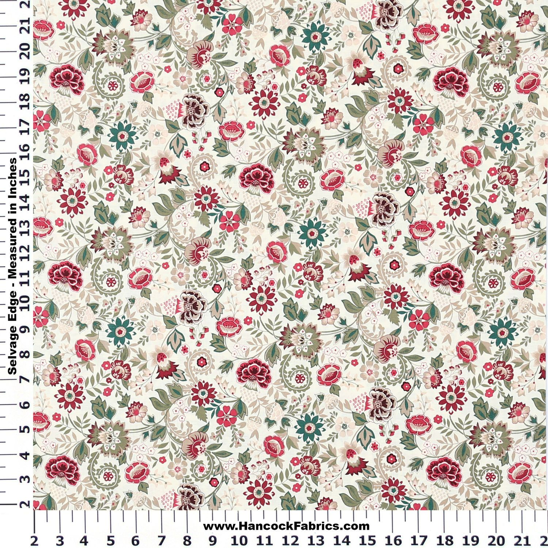 Tapestry Flowers Cream Cotton Fabric