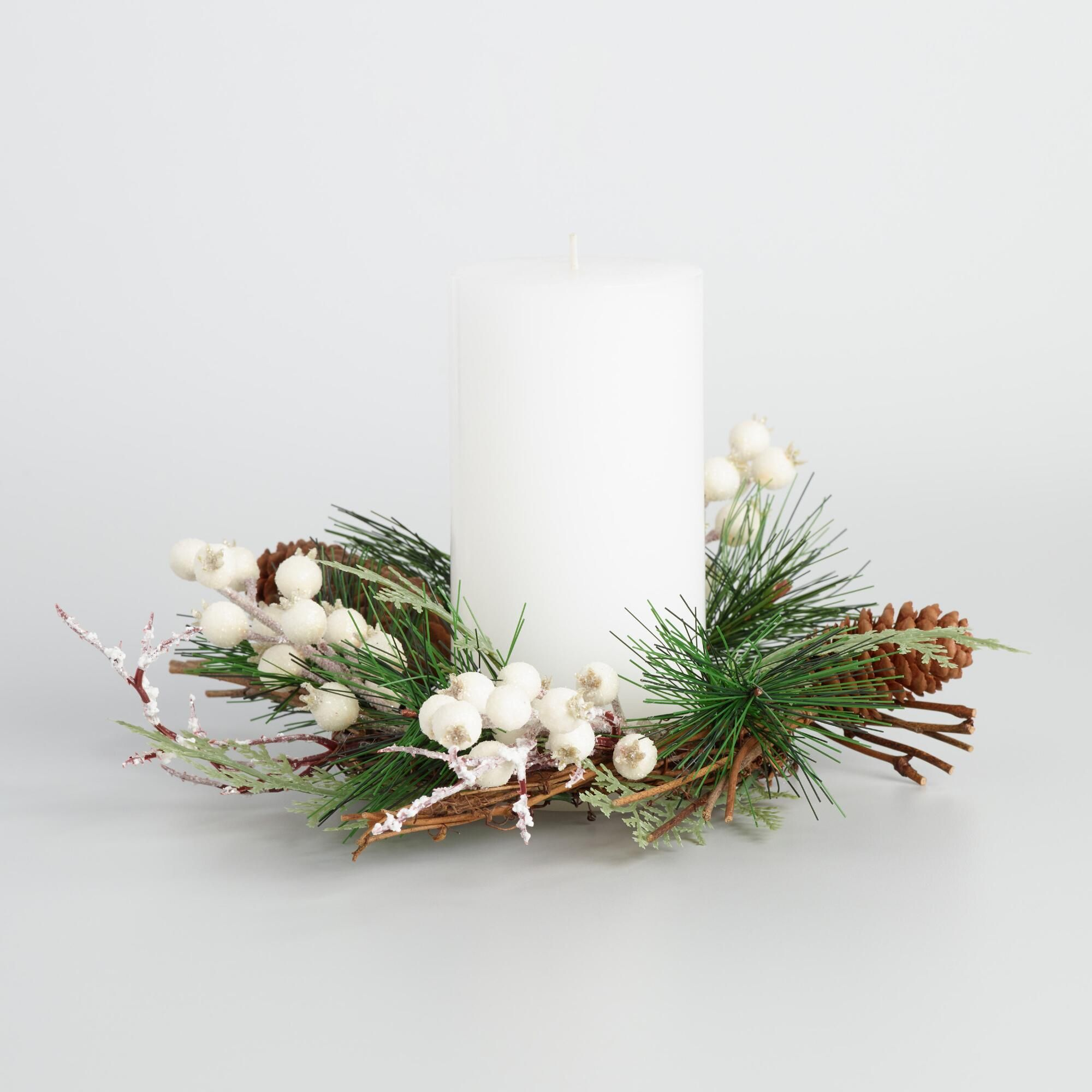 surround your favorite pillar with the wintry sophistication of our candle ring decorated with ivory berries - Decorative Christmas Candle Rings