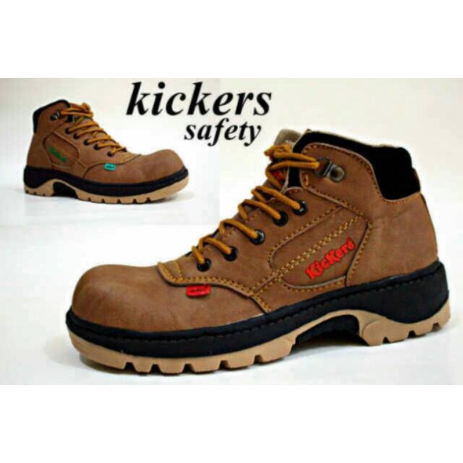 Sepatu Boots Safety Kickers Pria Hitam Brown Tan Cream Caterpillar