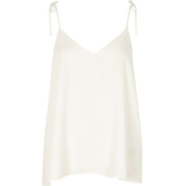 0ce39119fdb76 River Island White bow shoulder cami top ( 19) ❤ liked on Polyvore  featuring tops