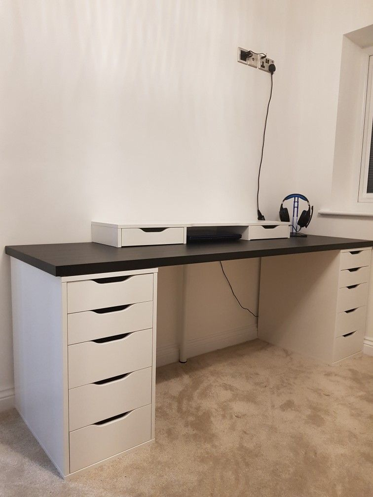 ikea alex limmon desk setup desk set up in 2019 desk desk setup rh pinterest com