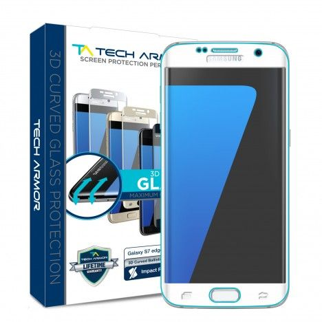 Protect the entire screen of your Samsung Galaxy S7 Edge with Tech Armor's HD Clear 3D-Edge Ballistic Glass Screen Protector- Silver version!
