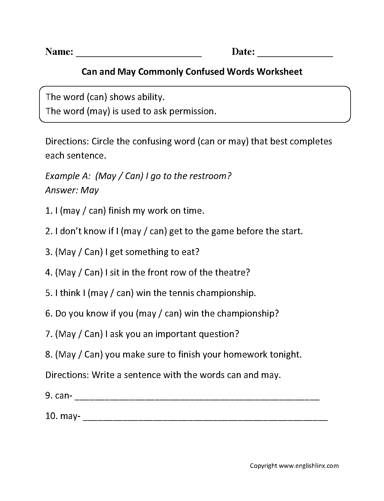 Can and May Commonly Confused Words Worksheets