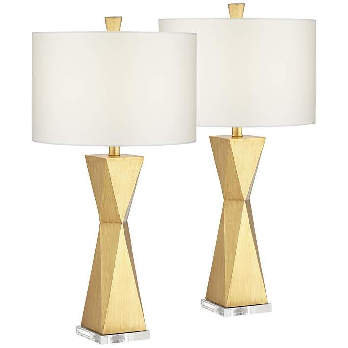 Kalso Brushed Gold Quadrangle Table Lamps Set Of 2 68r13 Lamps Plus Lamp Sets Table Lamp Lamp