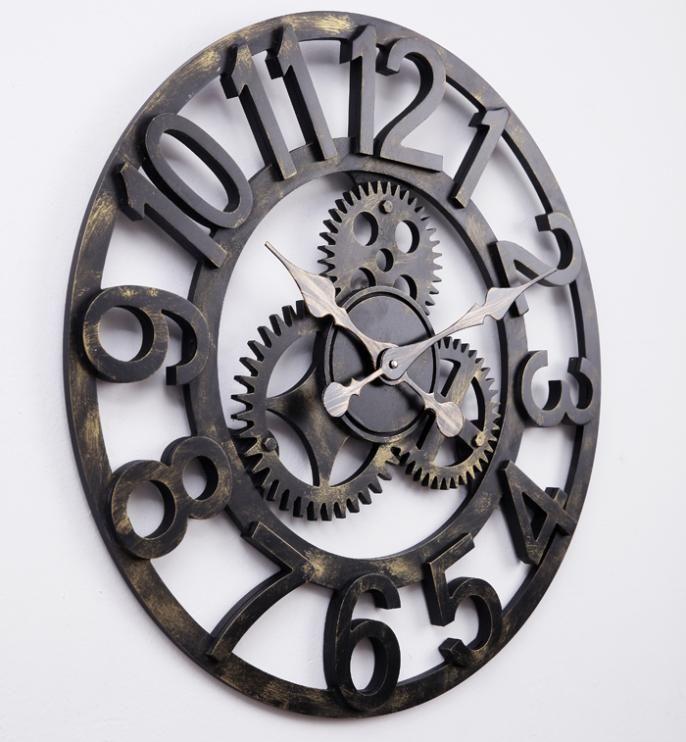 Marvelous 58cm Oversized Large Decorative Vintage Retro Art Luxury Gears Wall Clock  US $59.00