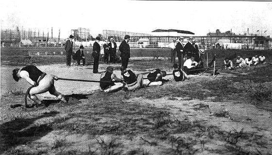 Milwaukee Takes Gold  Tug of War, 1904 St. Louis OlympicsAt the beginning of the last century, tug of war was more than just a groan-inducing part of company picnics. From 1900 to 1920, it was an Olympic event. Traditionally, the best teams came from Scandinavia and Great Britain, where the sport still enjoys a strong niche following. But one American squad managed to grab gold in the 1904 St. Louis games—the pullers of the Milwaukee Athletic Club.