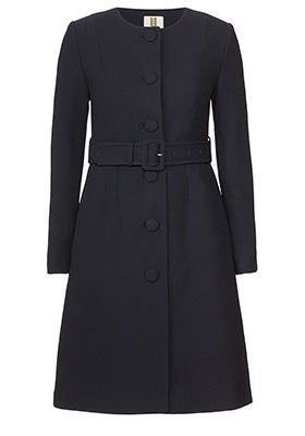 Double Wool Crepe Collarless Coat Black