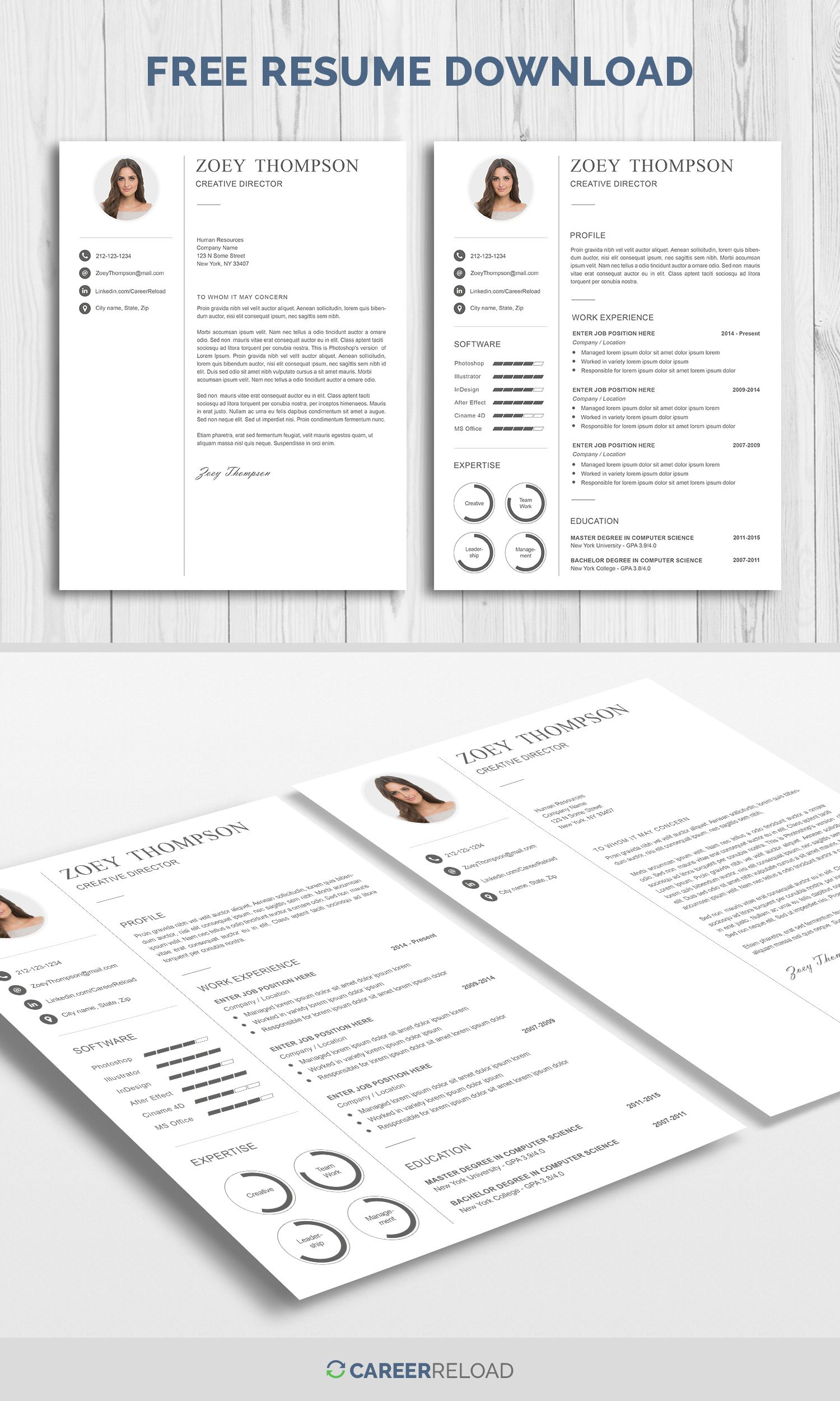 Download Free Resume Template With Matching Cover Letter  Free
