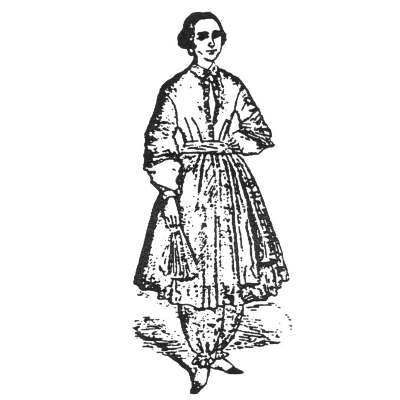 Amazon Drygoods - Bloomer Dress c. 1851, $17.00 (http://www.amazondrygoods.com/products/bloomer-dress-c-1851.html)