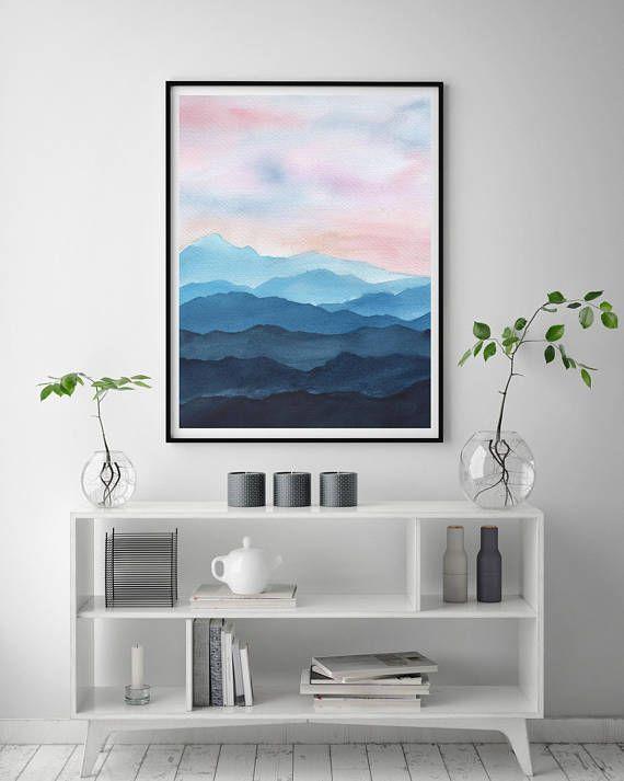 Berge Aquarell Kunstdruck Fine Art Prints Moderne