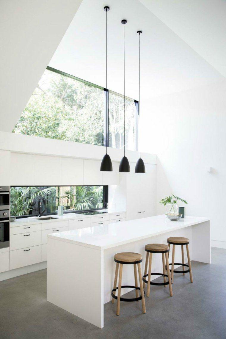 fenêtre bandeau de cuisine moderne en blanc et bois  House design